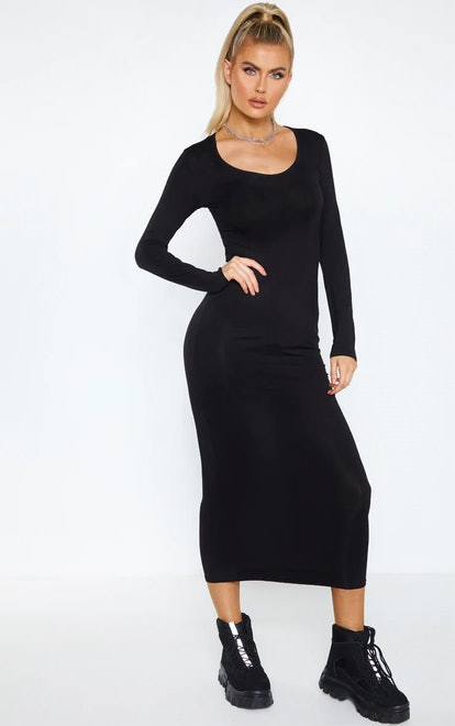 PrettyLittleThing Tall Black Long Sleeve Jersey Maxi Dress