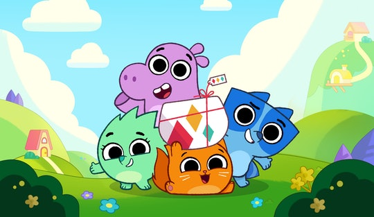 A cartoon cat holds a package, flanked by a racoon, hippo, and hedgehog in a cheerful neighborhood.