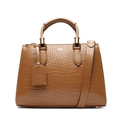 Lorena Crocodile-Embossed Leather Bag