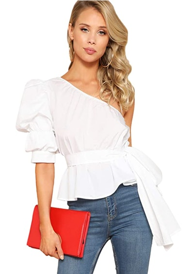 ROMWE One Shoulder Puff Sleeve Blouse
