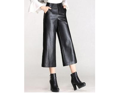 Tanming Faux Leather Wide Leg Pants