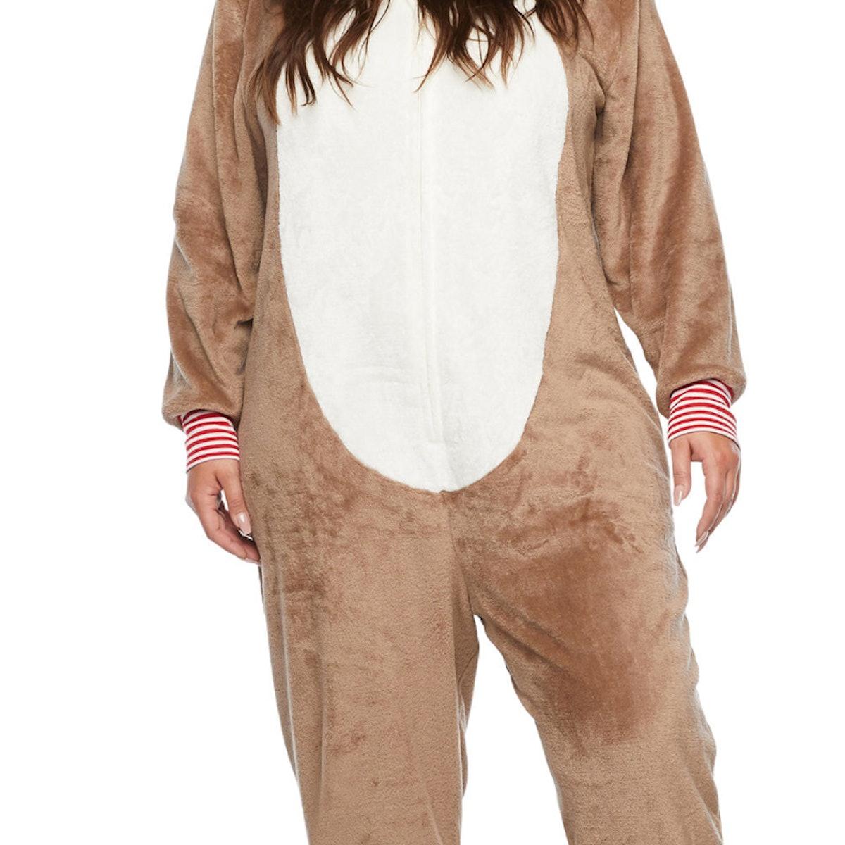 North Pole Trading Co. Reindeer Unisex Adult Plus Plush Long Sleeve One Piece Pajama