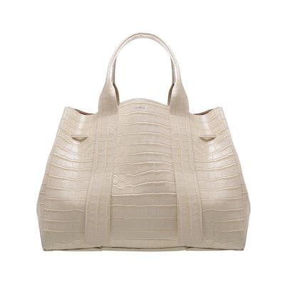 Maxi Crocodile-Embossed Leather Bag