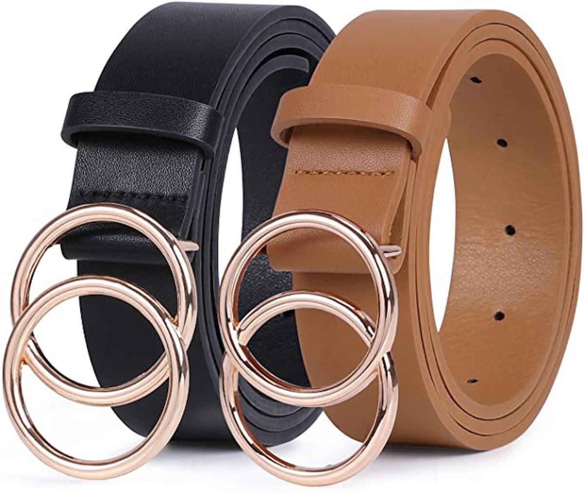 Sansths Faux Leather Belt (2-Pack)