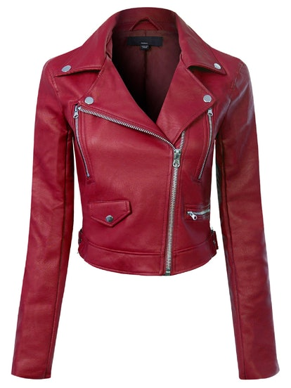 Made by Olivia Women's Long Sleeve Zipper Closure Moto Biker Faux Leather Jacket