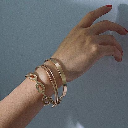 VANVENE Gold Plated Open Cuff Bangles