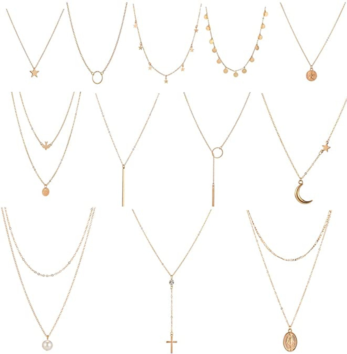 Dremcoue Layered Choker Necklace (12-Piece)