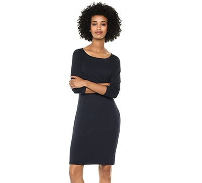 Amazon Brand - Daily Ritual 3/4-Sleeve Bateau-Neck Dress
