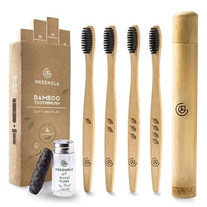 Greenzla Bamboo Toothbrush (4-Pack) With Travel Toothbrush Case & Charcoal Dental Floss