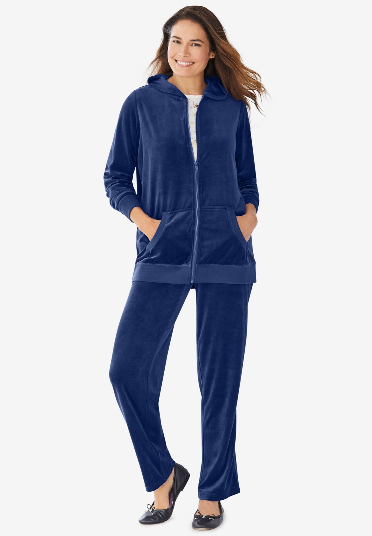 Woman Within 2-Piece Velour Hoodie Set