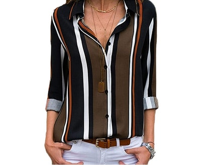 Astylish Striped Roll up Blouse