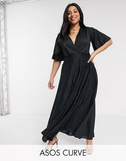 ASOS Design Curve kimono pleated maxi dress