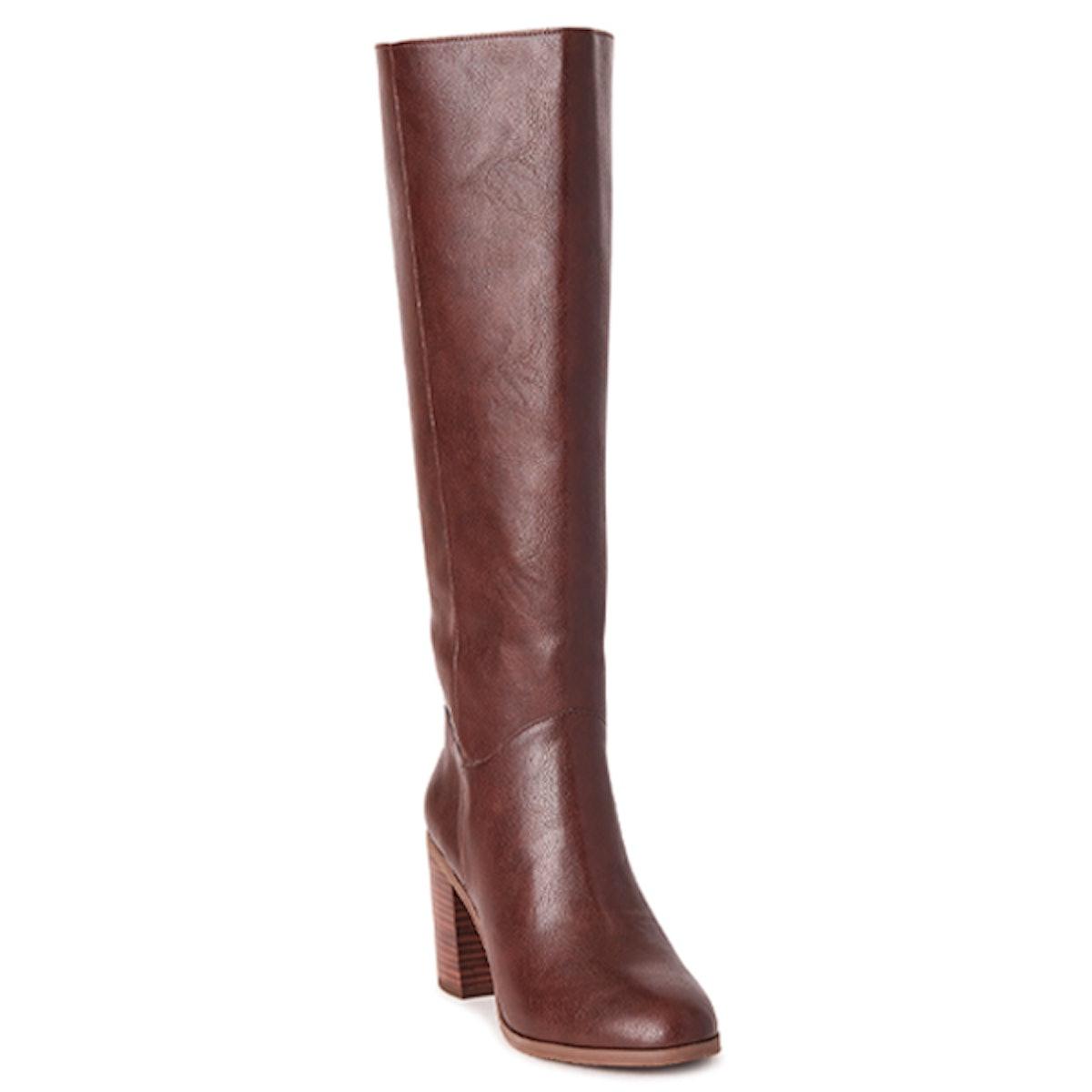 Vegan Leather Knee High Block Heel Boots