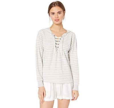 Amazon Brand - Mae Lace Up Sweatshirt with Hood