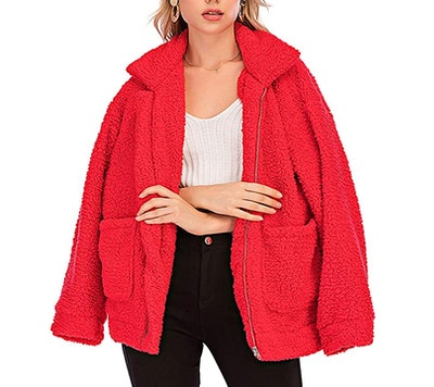 Gets Sherpa Fuzzy Jacket