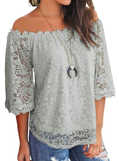 MIHOLL Lace Off Shoulder Top