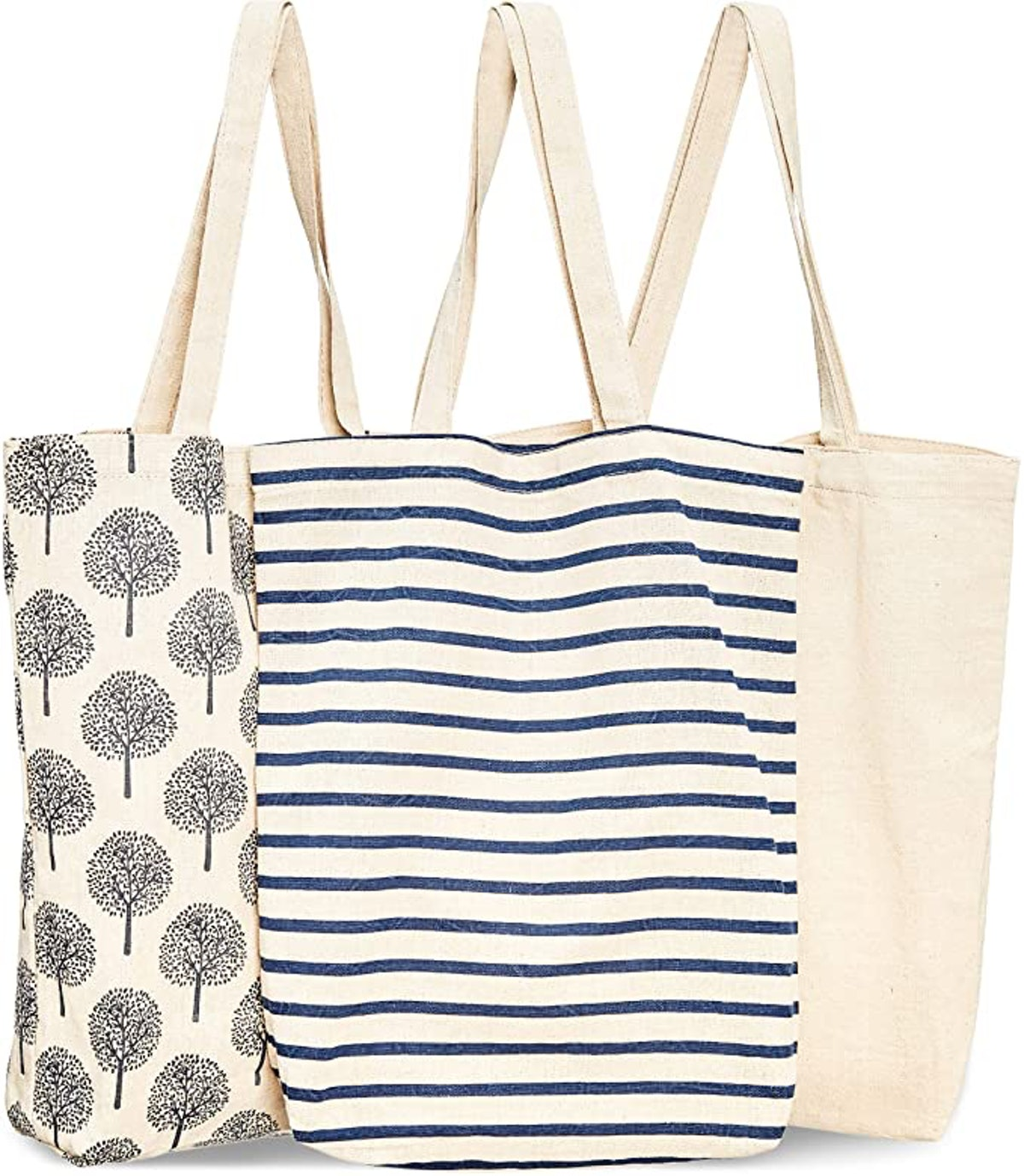 Juvale Reusable Cotton Tote Bags (3 Pack)