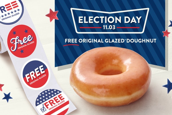 Voters can score a free glazed doughnut at Krispy Kreme on Nov. 3.