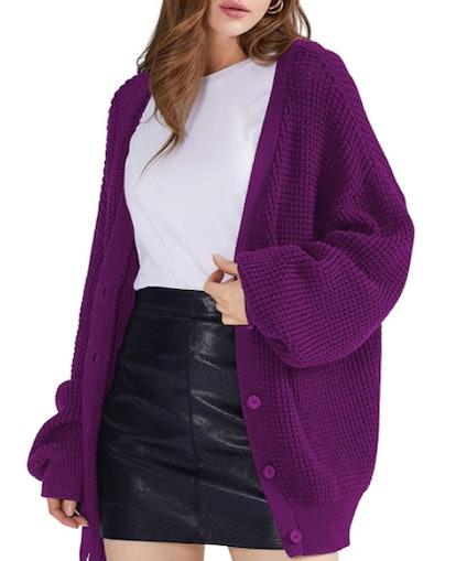 QUALFORT 100% Cotton Oversized Cardigan