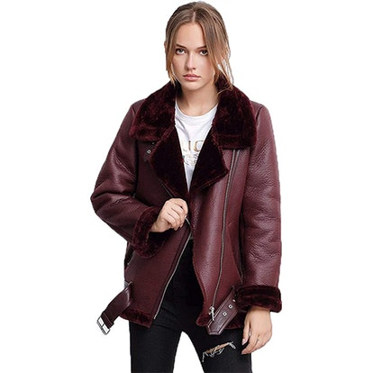 LY VAREY LIN Faux Shearling Moto Jacket