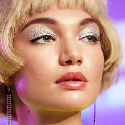 Affordable holiday makeup products, featuring glitter eyeshadow.