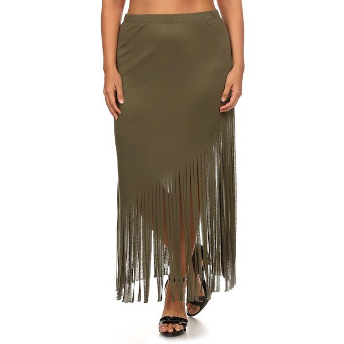 Ella Samani Women's Plus Size Fringe Midi Skirt