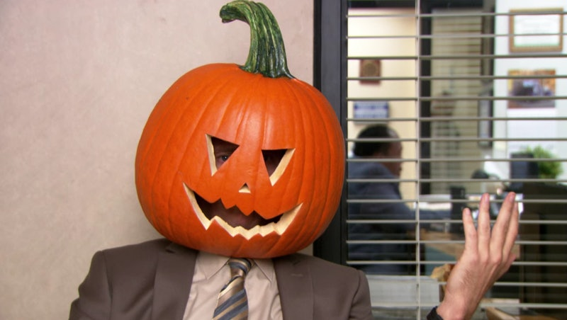 Dwight with a pumpkin stuck on his head during the Season 9 'Office' Halloween episode