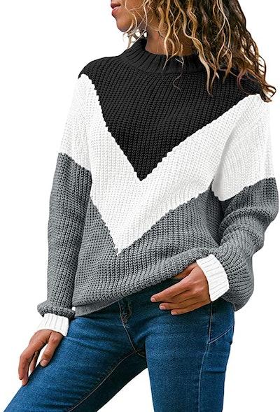 Acelitt Color-Block Round-Neck Knitted Jumper
