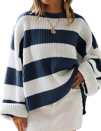 ZESICA Striped Oversized Knitted Pullover Sweater