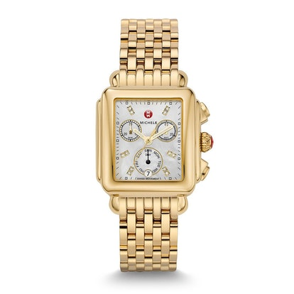 Deco Yellow Gold Diamond & White Mother of Pearl Watch on Bracelet