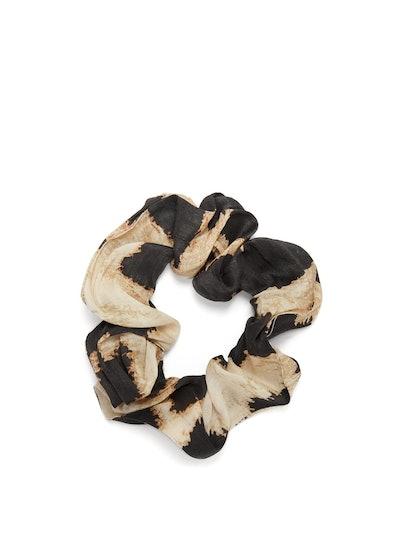 Ganni Leopard-print linen-blend scrunchie