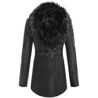 Bellivera Faux Leather Jacket With Detachable Faux Fur Collar
