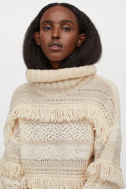 H&M Mixed-knit Turtleneck Sweater