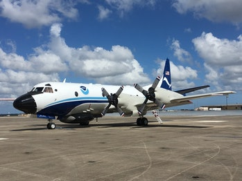 """One of NOAA's """"Hurricane Hunter"""" planes, known as Kermit."""