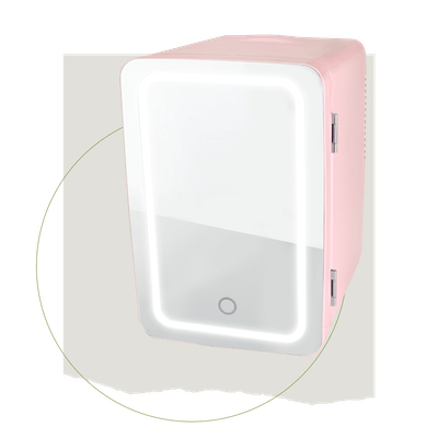 Personal Chiller LED Lighted Mini Fridge with Mirror Door