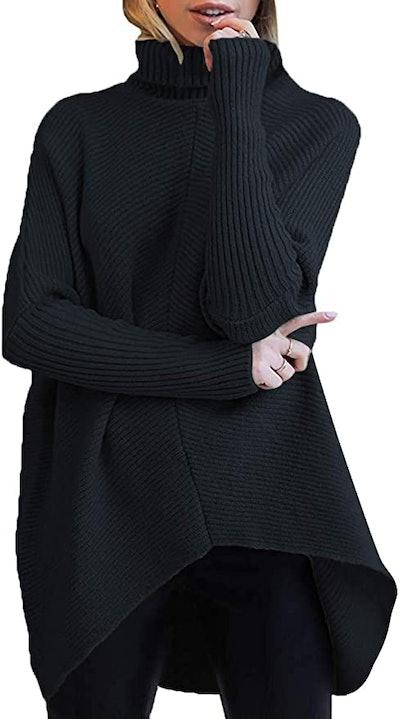 ANRABESS Batwing Asymmetric Turtleneck Sweater