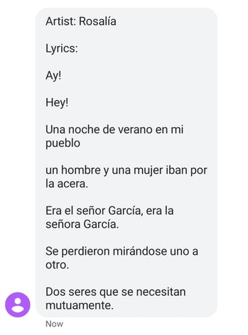Rosalía generated lyrics