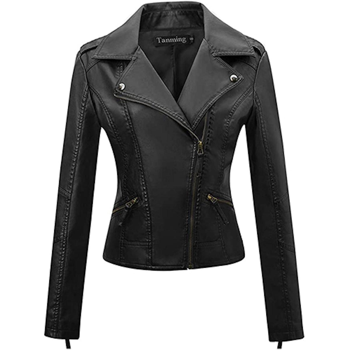 Tanming Faux Leather Moto Jacket