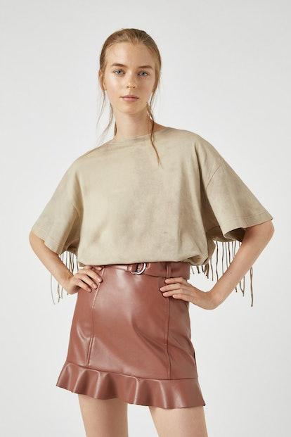 Pull & Bear Tie-dye T-shirt with Fringe Detail