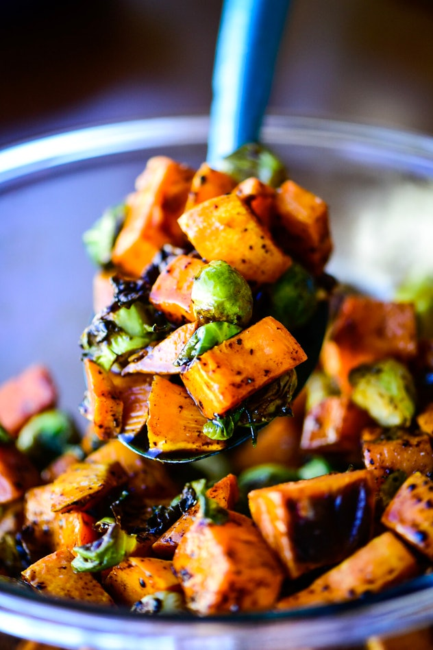 sweet potatoes & brussels sprouts