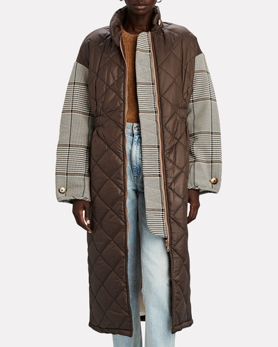 Deadra Quilted Plaid Puffer Coat
