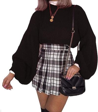 PRETTYGARDEN Lantern Sleeve Knit Sweater