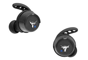 UA Project Rock True Wireless X earbuds.