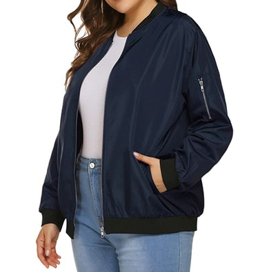 IN'VOLAND Plus Size Bomber Jacket