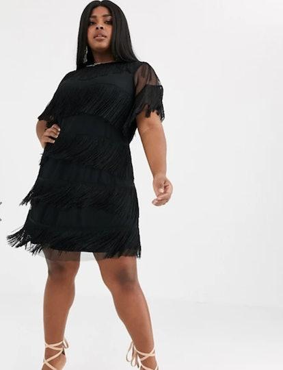 ASOS Design Curve Fringe Shift Mini Dress