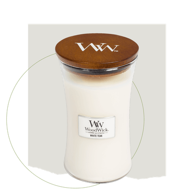 WoodWick White Teak - Large Hourglass Candle