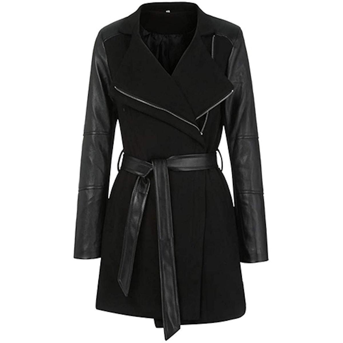LISTHA Long Leather Woolen Overcoat