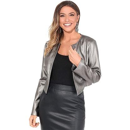 KRISP PU Leather Cropped Jacket