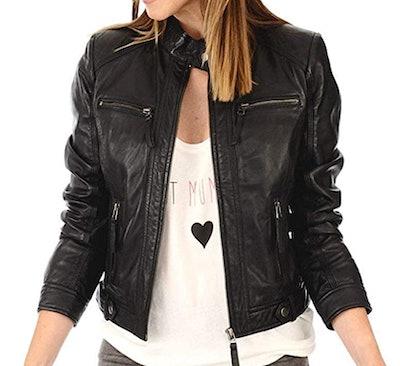 LEATHER FARM Lambskin Leather Bomber Jacket