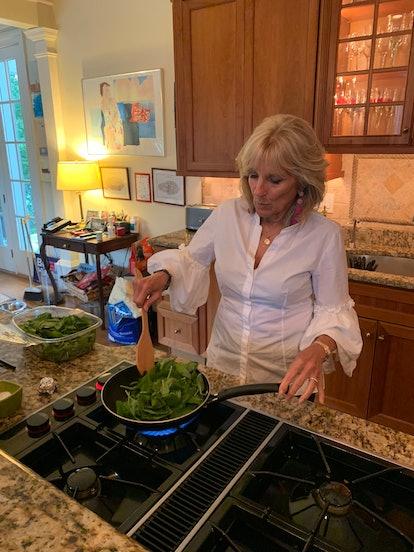 Jill Biden making her chicken parmesan recipe in her home